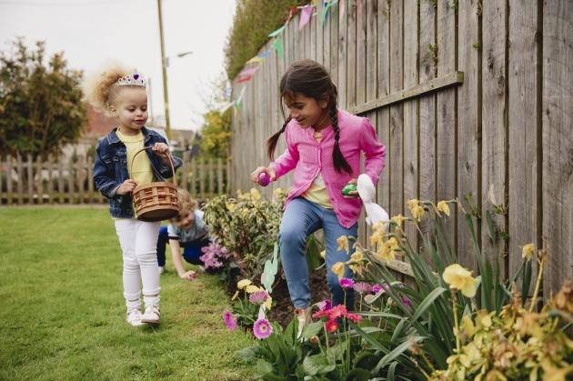 Little Girls Easter Egg Hunting